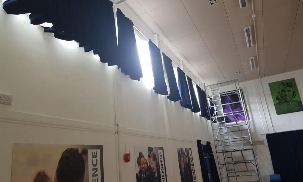 Blackout Velvet Curtains School Hall