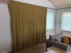80mm Wave Curtains Dress and Pleated on Electric Curtain Track